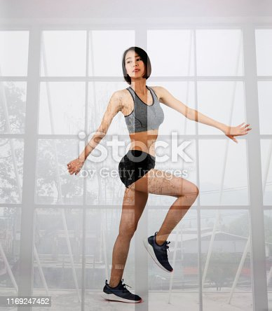 istock sporty woman in sportswear on white background. healthy sport fitness lifestyle 1169247452