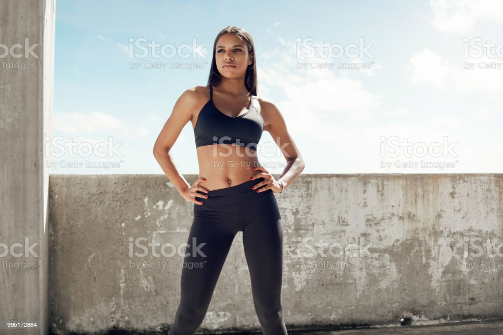 Sporty woman ready for fitness outdoor workout royalty-free stock photo