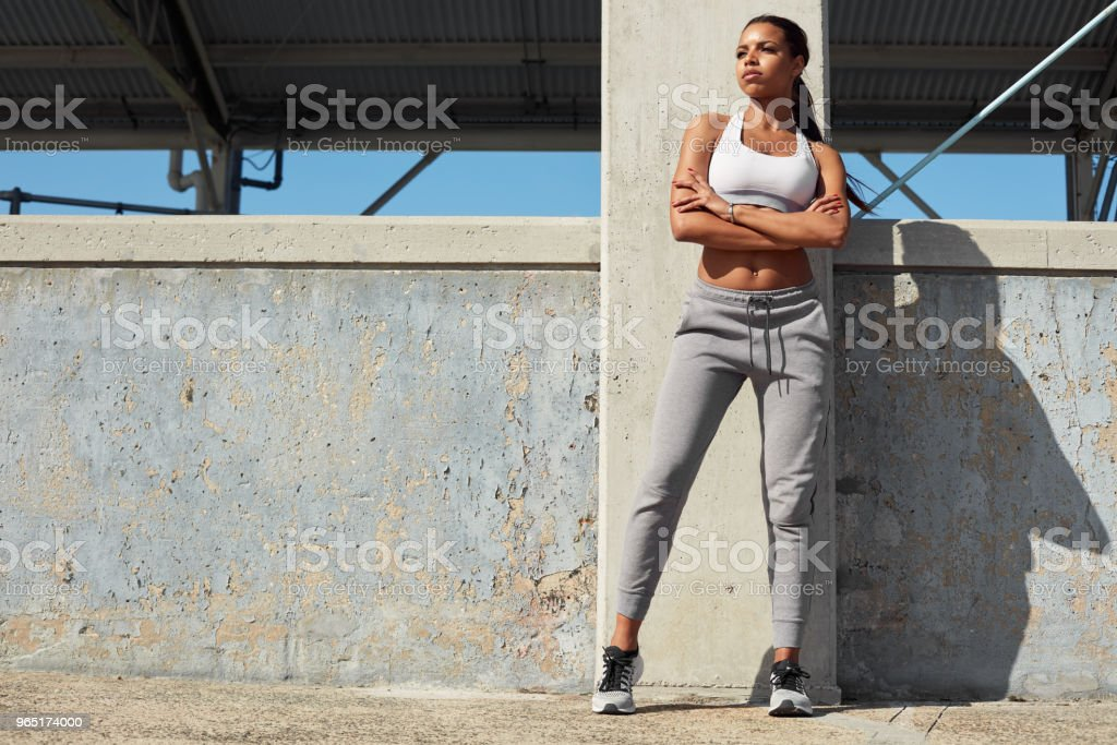 Sporty woman ready for fitness outdoor workout zbiór zdjęć royalty-free