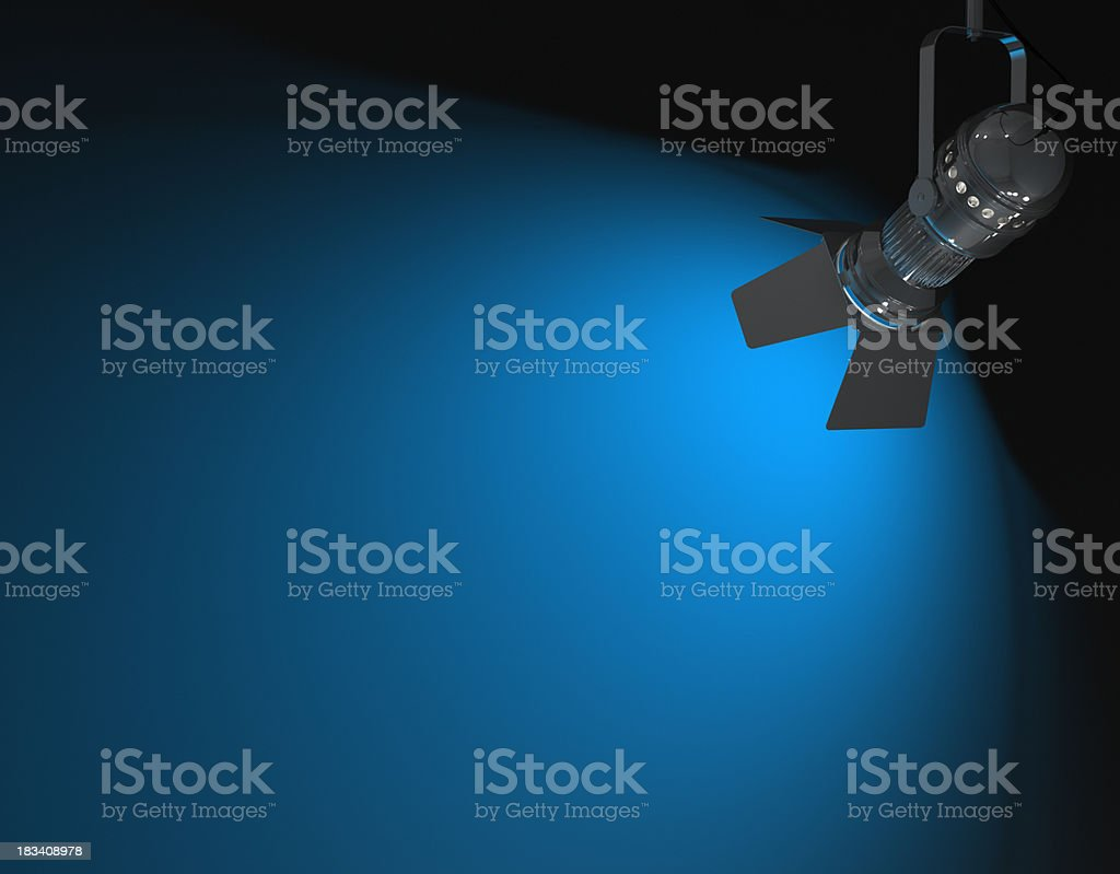 Blue colored spotlight lits wall. 3D render.Similar images: