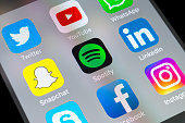 Spotify, Snapchat, LinkedIn and other apps on cellphone