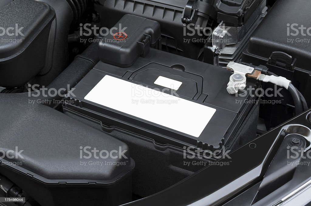 Spotlessly clean car engine in battery area stock photo