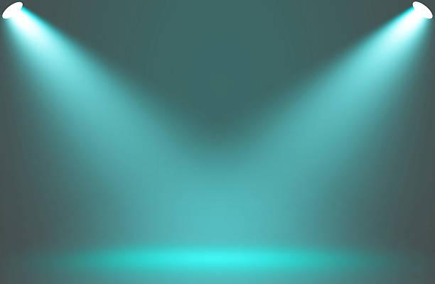 Spotlight blue effect on stage background. stock photo