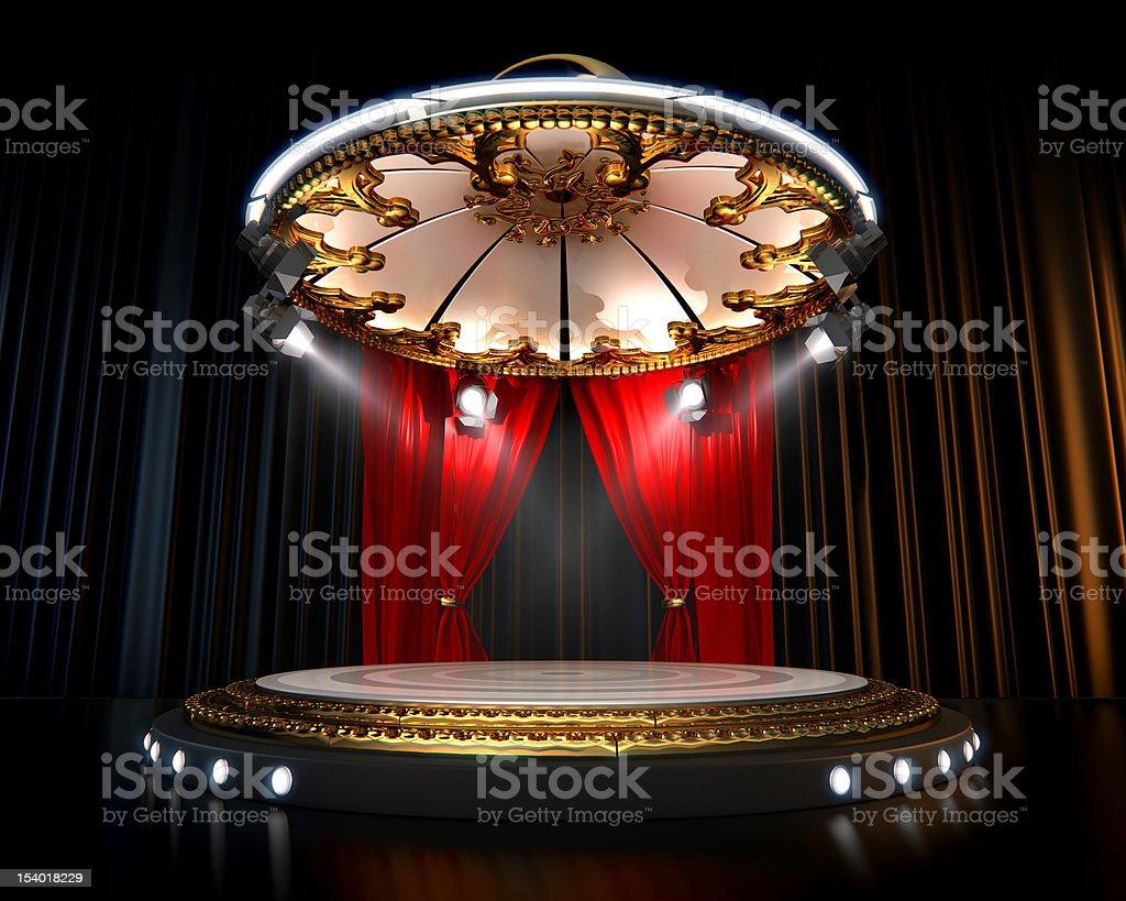 Spotlight focused on an empty stage stock photo