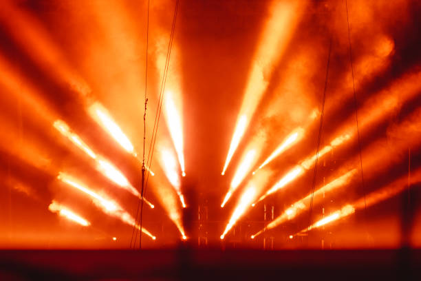 spotlight in smoke - circus background stock photos and pictures