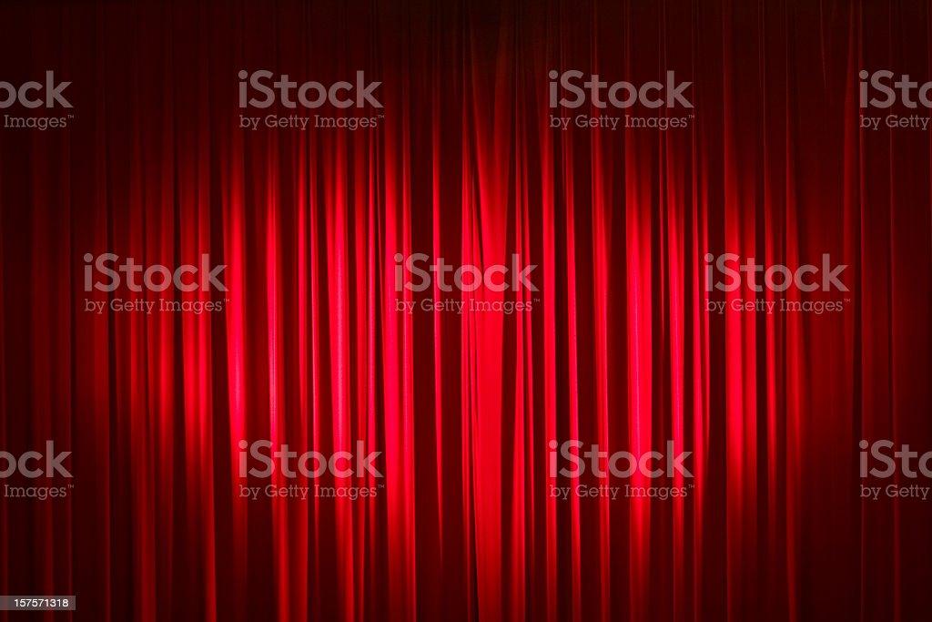 Spotlight On Red Velvet Stage Curtains stock photo
