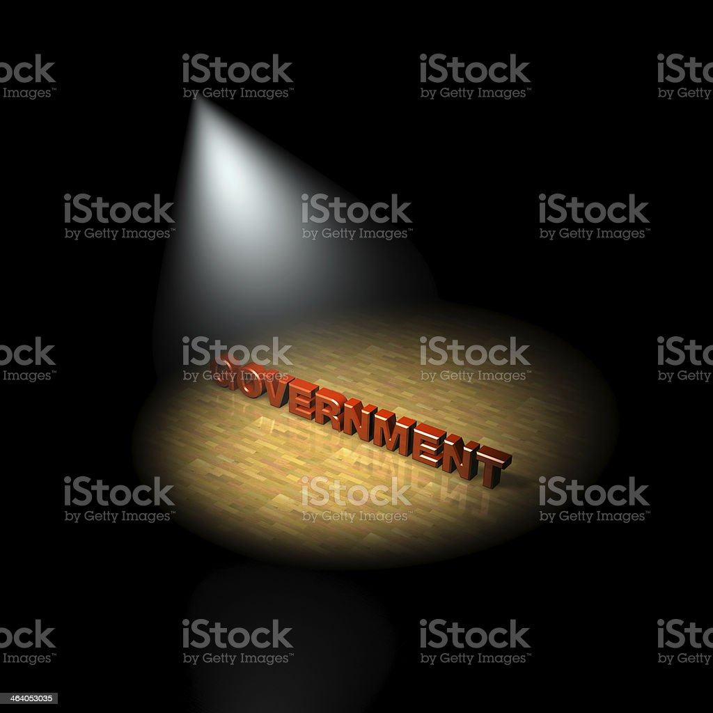 spotlight on the government, 3D stock photo