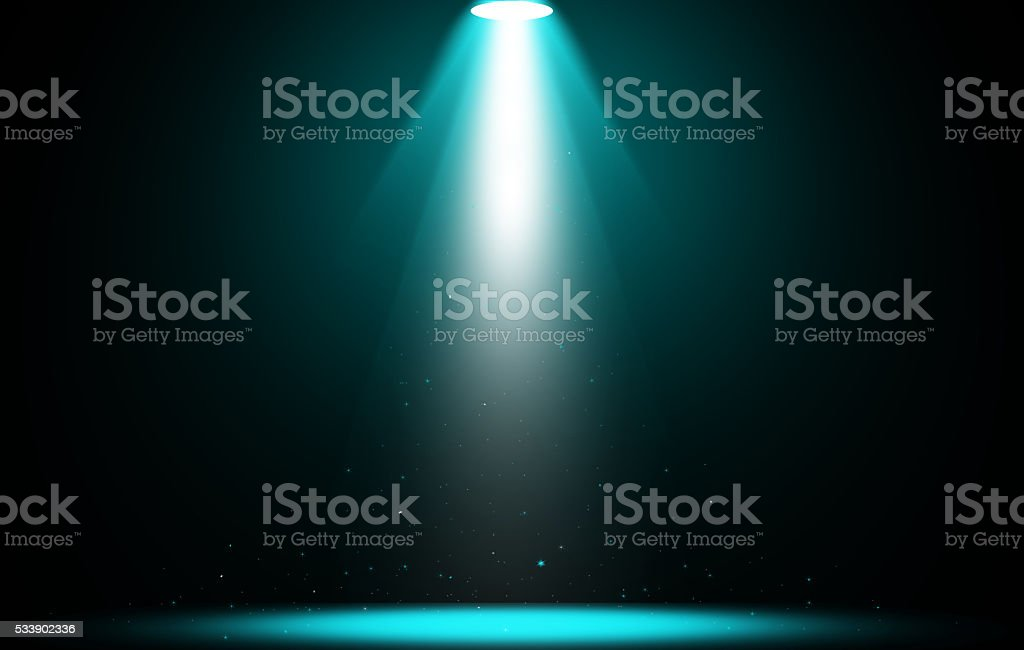 Spotlight scintillation blue light stage. stock photo