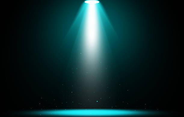 Spotlight scintillation blue light stage. stock photo