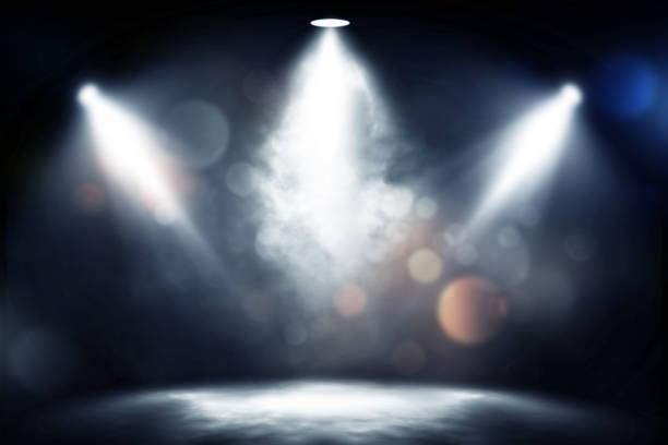 spotlight smoke studio entertainment background. - spot lit stock pictures, royalty-free photos & images
