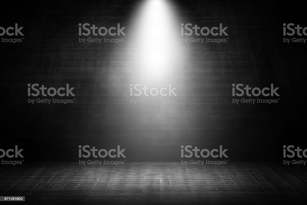 Spotlight white stage steel studio background. stock photo