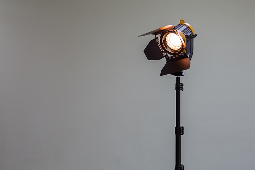 Spotlight with halogen bulb. Lighting equipment for Studio photography or videography