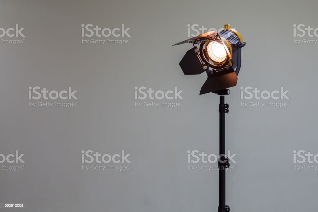 Spotlight with halogen bulb. Lighting equipment for Studio photography or videography stock photo