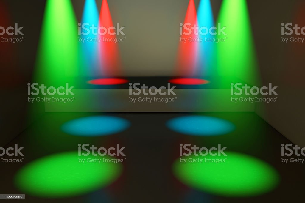 Spotlights and stage - 3d rendered illustration stock photo