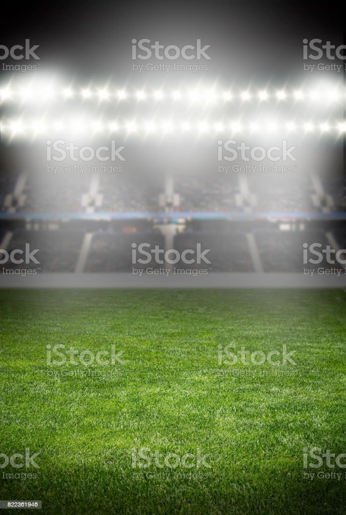 spotlights at the soccer arena stock photo