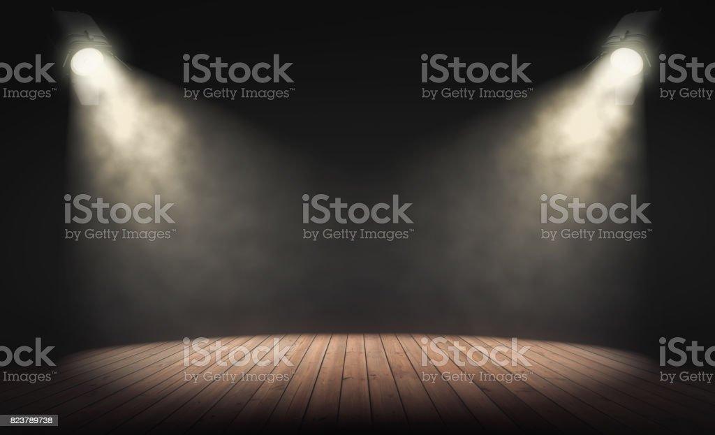 Projecteurs éclairent une scène vide avec fond sombre. rendu 3D photo libre de droits