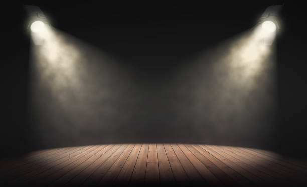spotlights illuminate empty stage with dark background. 3d rendering - arts culture and entertainment stock pictures, royalty-free photos & images