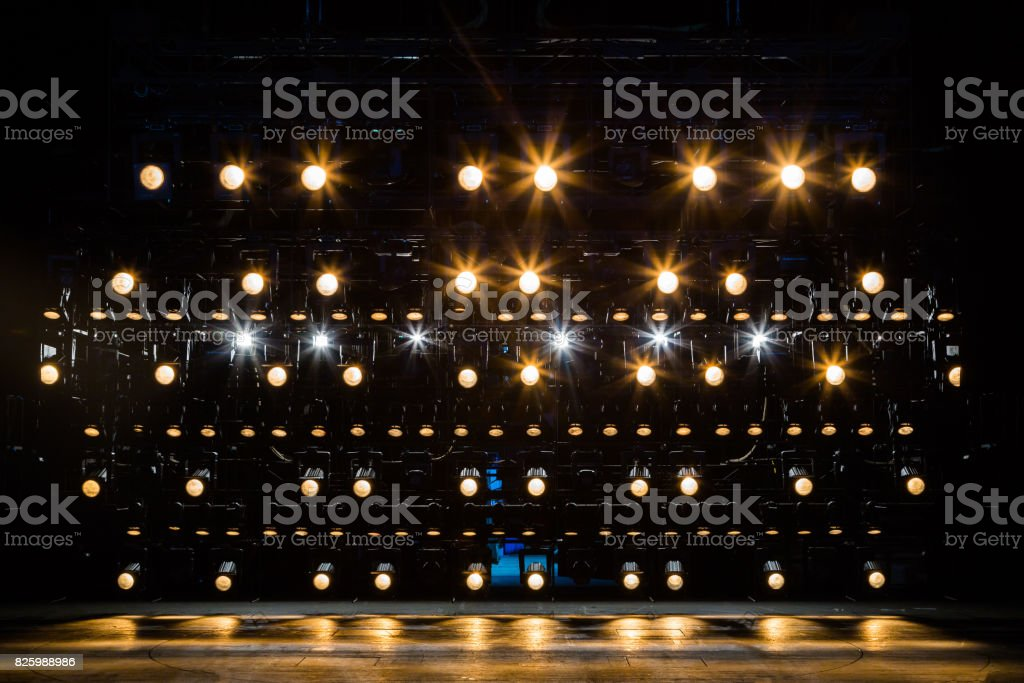 Spotlights & lighting equipment for the theater. Yellow light stock photo