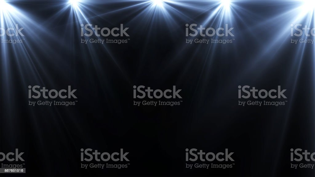 spotlights lighting flare on a dark background, abstract stock photo