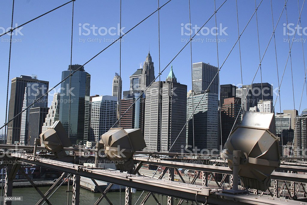 Spotlights on Manhattan royalty-free stock photo