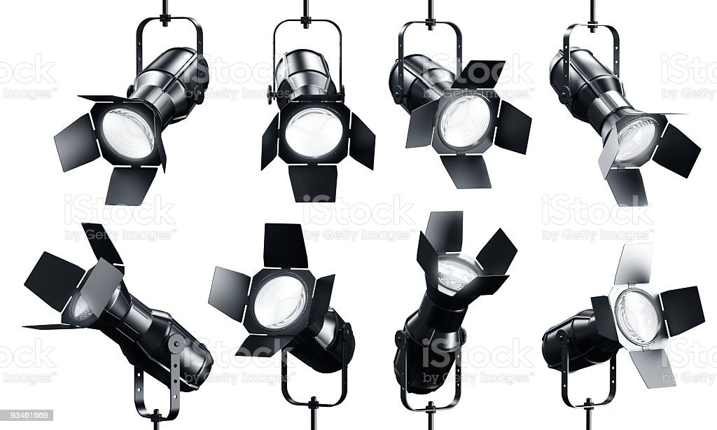 Spotlights on white stock photo