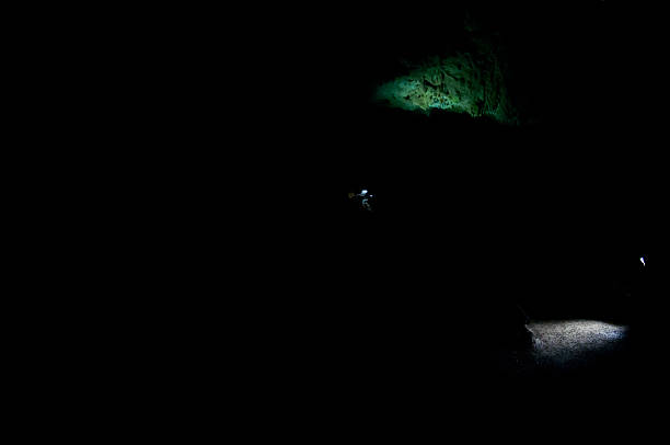 spotlights green and white spotlights on the ground in dark limestone, dripstone cave arcane stock pictures, royalty-free photos & images