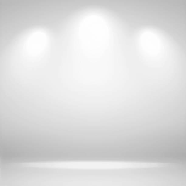 spots scène. abstracte witte achtergrond lege kamer studio achtergrond en geef uw product met spot lights - landelement stockfoto's en -beelden