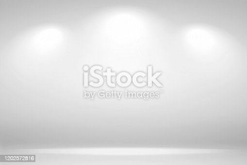 Spotlights Scene. Abstract white background empty room studio background and display your product with spot lights.