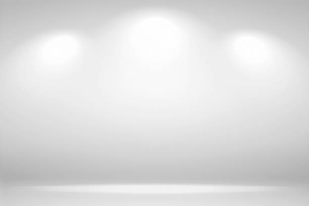 spotlights scene. abstract white background empty room studio background and display your product with spot lights - возвышенность стоковые фото и изображения