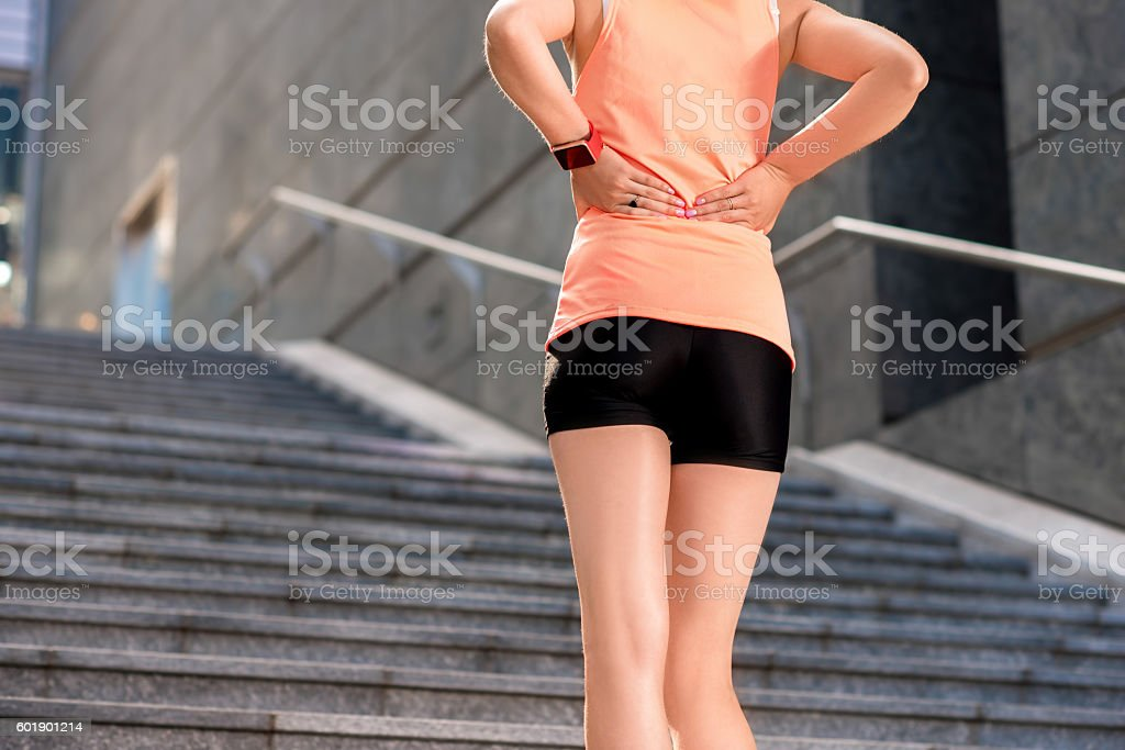 Spots woman in the city stock photo