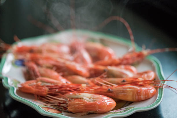 Spotted prawns stock photo