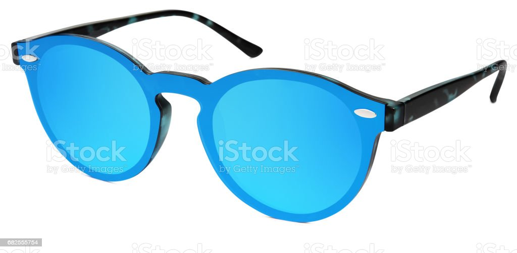 spotted sunglasses blue mirror lenses isolated on white background stock photo