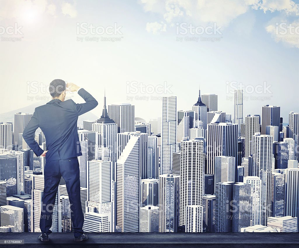 Spotting new avenues for corporate success! A rear view of a businessman surveying a cityscape Adult Stock Photo