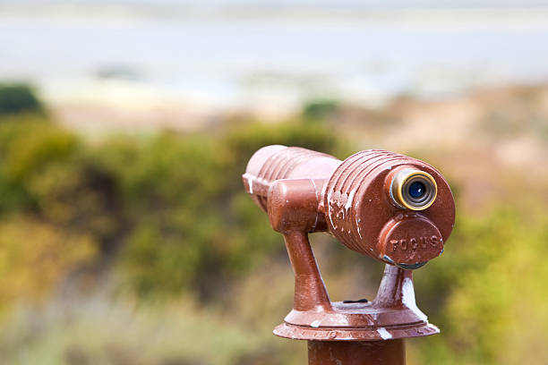 Spotting Scope Overlooking a Landscape stock photo