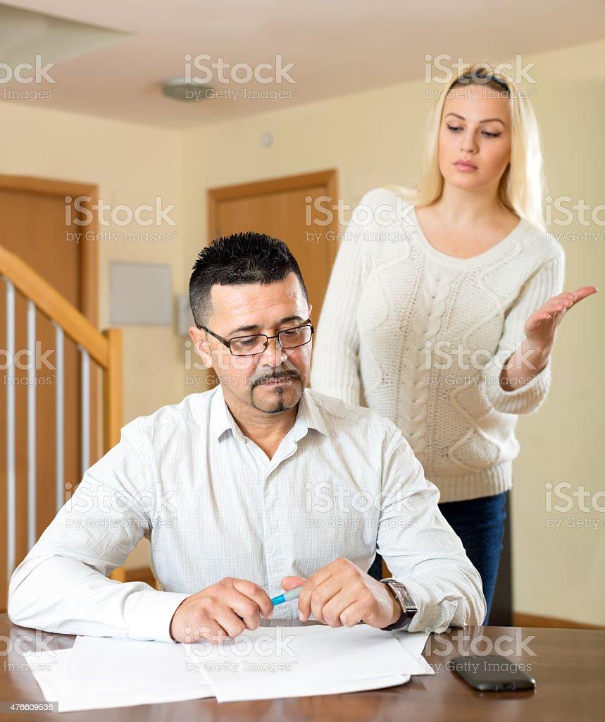 Spouses having a quarell stock photo
