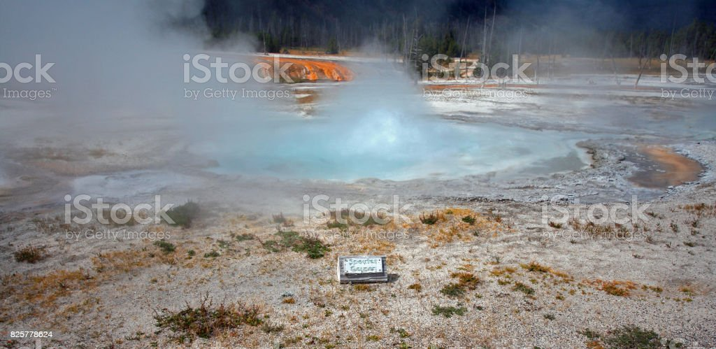 Spouter Geyser boiling up in the Black Sand Basin in Yellowstone National Park in Wyoming United States stock photo