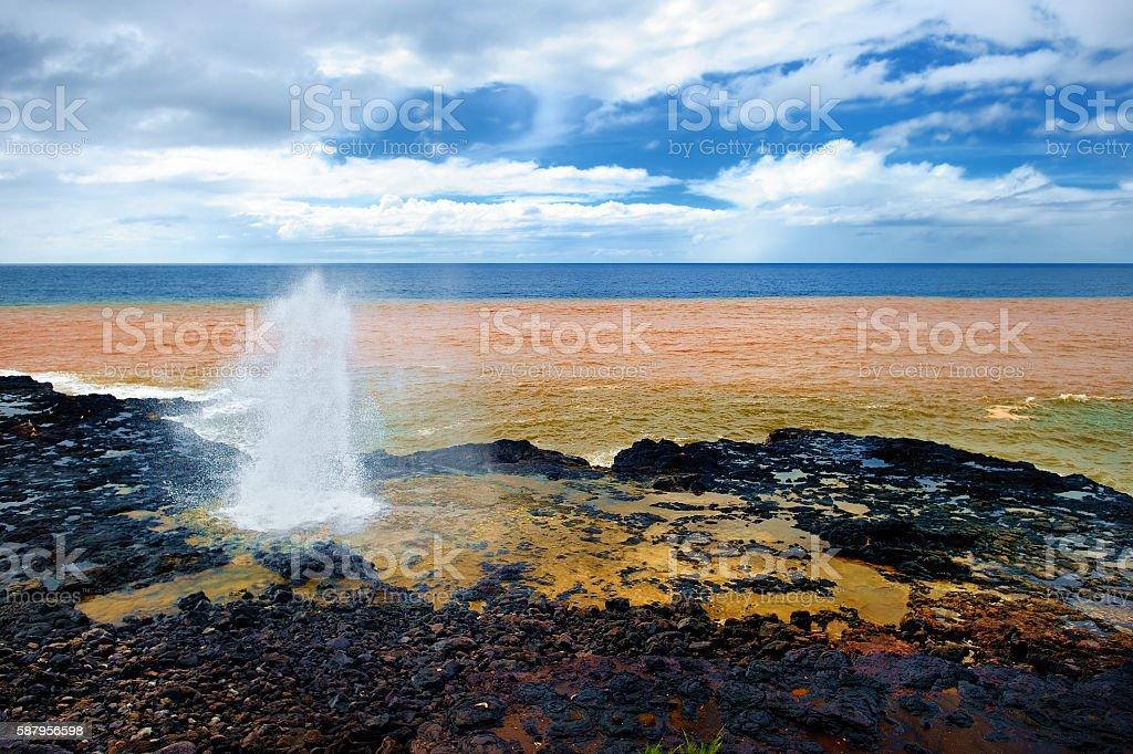 Spouting Horn of the Kauai, Hawaii stock photo