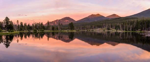 Sprague Lake - A colorful Summer evening at scenic Sprague Lake, Rocky Mountain National Park, Colorado, USA. stock photo