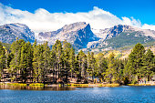 Stock photograph of Sprague Lake, Tyndall Glacier and Hallett Peak in Rocky Mountain National Park Colorado USA on a sunny day
