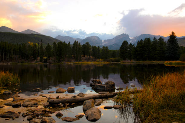 Sprague Lake in Rocky Mountain National Park at sunset stock photo