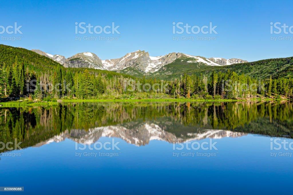 Sprague Lake Morning Reflection stock photo