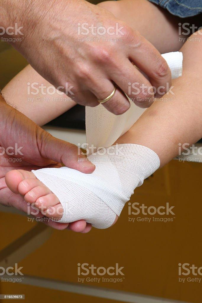 sprained ankle bandage on child