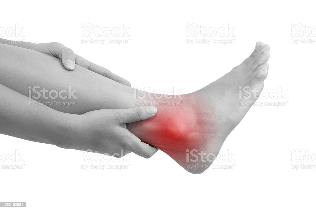 Sprained ankle. stock photo
