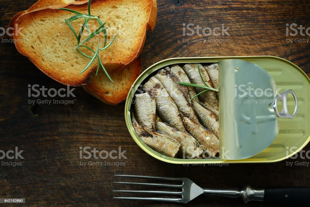 Sprats canned in metal container, fish stock photo
