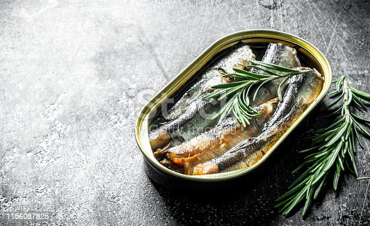 istock Sprats in a tin can of rosemary. 1156087825