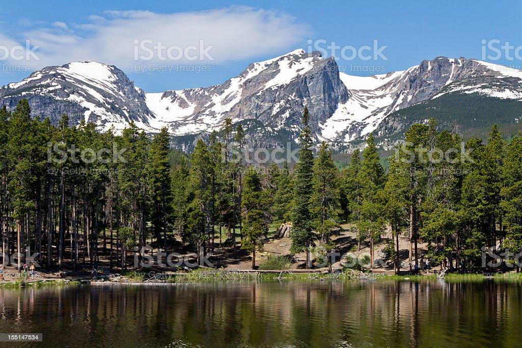 Sprauge Lake and Hallet Peak, Rocky Mountain National Park stock photo