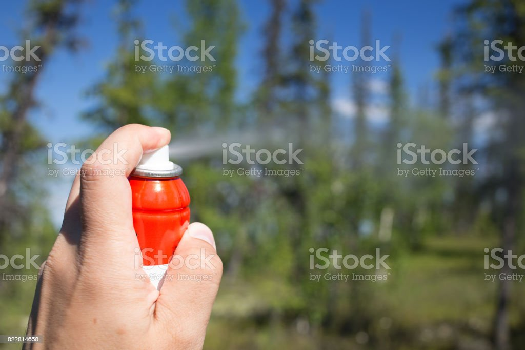 spray a repellent against insects in the forest stock photo