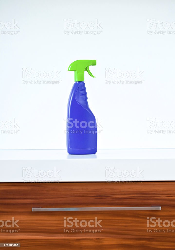 Spray Bottle On Kitchen Counter royalty-free stock photo
