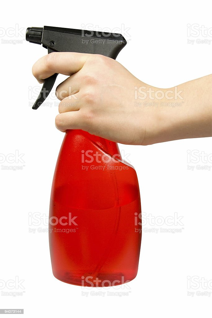 Spray bottle with hand isolated on white  (clipping path) stock photo
