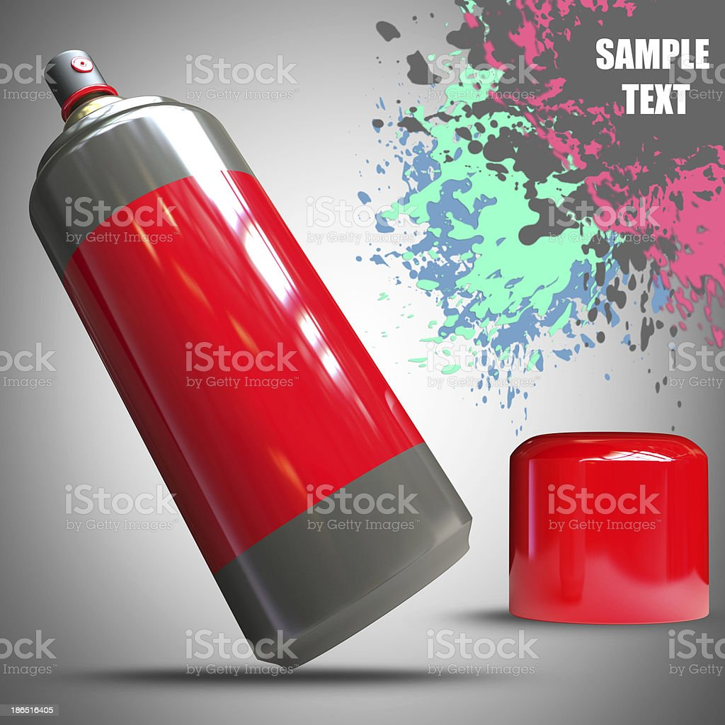 Spray can and Paint splat royalty-free stock photo